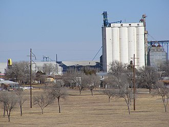 Muleshoe, Texas - One of the many grain elevators in the area: In the foreground is Muleshoe City Park.