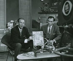 Russian Life - Enver Mamedov (right) presents the USSR magazine on the CBS (1957)