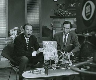 Khrushchev Thaw - Enver Mamedov (right), the editor of The USSR magazine, presents it to the CBS audience (1957)