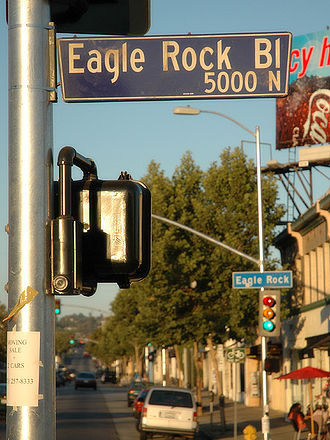 Eagle Rock, Los Angeles - Intersection of Eagle Rock Boulevard and Colorado Boulevard.  Eagle Rock has been used as a backdrop for movies and television shows