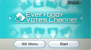 Everybody Votes Channel - The Everybody Votes Channel start screen. Discontinued, as of June 28, 2013