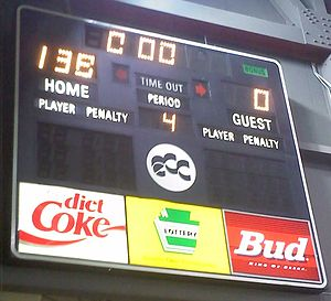 Erie Explosion - The Tullio Arena scoreboard following the Explosion's record-setting game from 2011.