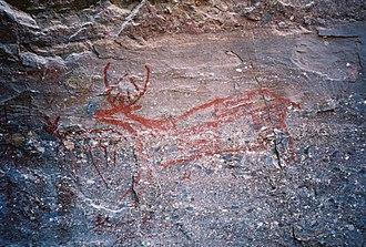 Sierra de Guadalupe cave paintings - The Trinidad Deer, ocher paint on rock wall