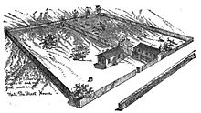 Drawing of the first Catholic church in St. Louis showing a small building and a lot