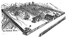 Disegno della prima chiesa cattolica di St. Louis che mostra un piccolo edificio e un sacco