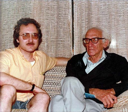 C. Leroy Ellenberger with Immanuel Velikovsky at Seaside Heights, New Jersey, in 1978.