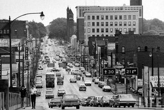 Massillon, Ohio - Lincoln Highway (US-30) looking east into Downtown Massillon, 1966