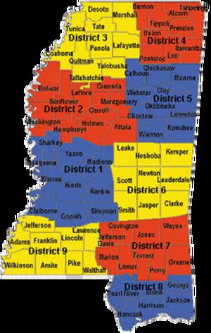 Mississippi Highway Patrol - Image: MS Highway Patrol Troop map