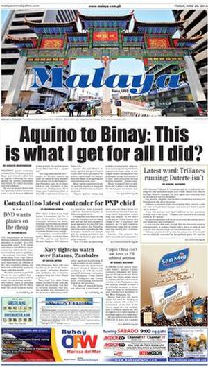 Malaya (newspaper) - The front page of Malaya on June 26, 2015