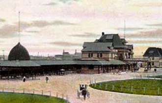 Moncton - The Intercolonial Railway depot in Moncton, pictured here in 1904, was central to the city's economic recovery in the late 19th century.