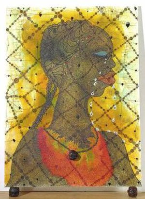 No Woman No Cry by Chris Ofili (1998). The pai...