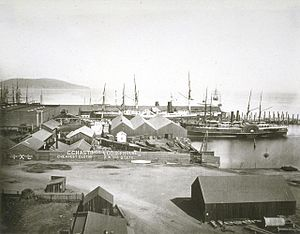 American President Lines - The Pacific Mail docks in San Francisco, circa 1860s. Two steamships are shown, both of which are in Trans-Pacific service at this time.