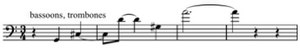 Symphony No. 3 (Penderecki) - Example 3: Low winds and brass (mm. 24–27)