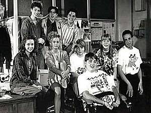 Press Gang - The cast of Press Gang in a publicity photograph