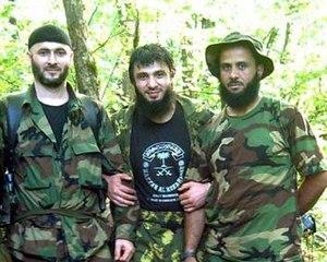 Rappani Khalilov - Khalilov (centre) together with Sheikh Abdul-Halim and Abu Hafs al-Urduni.
