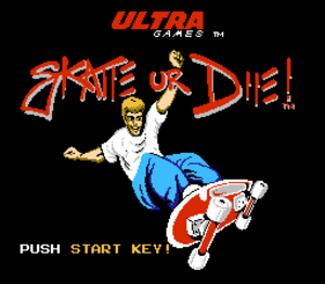 Skate or Die! - Title screenshot to Skate or Die for the NES.