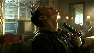 Space Bound - Eminem shooting himself in a motel. This is a climactic scene in the music video which would spark controversy.