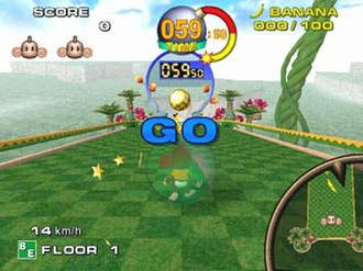 Super Monkey Ball (video game) - The player about to start a stage during the main game.