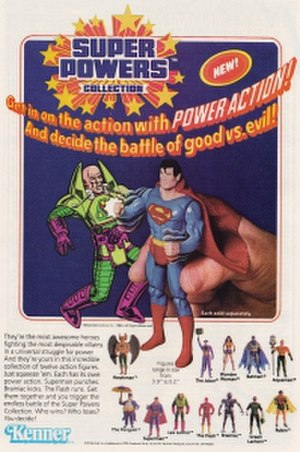 Super Powers Collection - Advertisement for the first wave of Super Powers action figures from trade ads and covers in various DC comics published titles from 1984-1985.