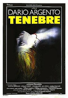 "A film poster with the main image a woman's upper shoulders and head on a black background. Facing upwards with her head arched back, she is drained of color, save for her red hair and the red line of blood where her throat has been cut. Above, ""DARIO ARGENTO. TENEBRAE"". Underneath, the film credits."