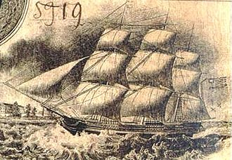 Naval Battle of Campeche - The brig Wharton depicted on Texan currency.