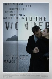 A man embraces a woman from behind while they are in front of a sea. A vertical line mimicking the hinge of a book is placed off-center to the left, with an island in the sea seemingly disappearing into the hinge. The faded title and credits surround the hinge, while a white border surrounds the whole picture, with further credits located at its bottom.