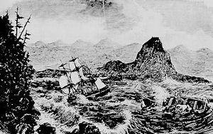 Tonquin (1807) - The Tonquin (left) in 1811 at the Columbia River