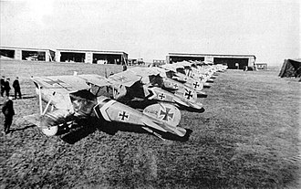 Jagdstaffel - A lineup of Albatros D.III fighters of Jagdstaffel 50 - mid to late 1917. The subdued staffel scheme of black and white stripes and chevrons can be seen on the fuselage and tailplanes of most machines, which are otherwise in factory finish.