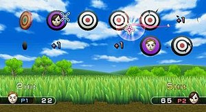 Wii Play - Minigames such as Shooting Range, which pays homage to the NES game Duck Hunt, utilize the Wii Remote's optical sensor, allowing the system to track where the user is pointing the controller.