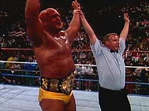 WrestleMania VII - Hulk Hogan winning the WWF World Heavyweight Championship for the third time.