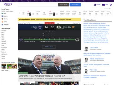 Yahoo Sports homepage