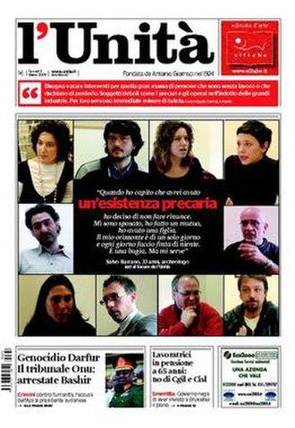 L'Unità - Image: 20090305 l'unità frontpage
