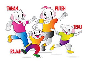 2011–2012 Sukma Games - Tahan, Rajah, Teku and Putih, the elephant, the official mascot of the 2012 games.