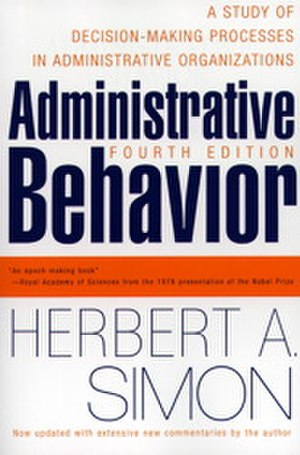 "Administrative Behavior - Cover of 4th edition (1997); note change of subtitle to ""...Organizations"""