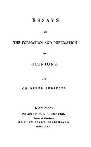Samuel Bailey - Title page: Essays on the Formation and Publication of Opinions 1st ed. (1821)