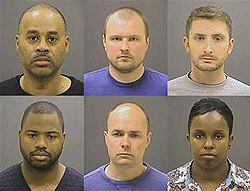 Baltimore police officers charged in the death of Freddie Gray. Top row  left to right: Caesar R. Goodson Jr., Garrett E. Miller and Edward M. Nero.