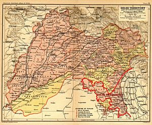 "Ceded and Conquered Provinces - The ""Delhi Territory"", shown here in a 1908 map of Punjab province, was a part of the Ceded and Conquered Provinces."