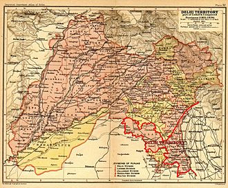 """Ceded and Conquered Provinces - The """"Delhi Territory"""", shown here in a 1908 map of Punjab province, was a part of the Ceded and Conquered Provinces."""
