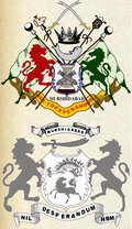 Coat of Arms of the Nawab of Bengal (top) and that of the Nawab of Murshidabad (bottom).png