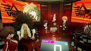 Cyber Danganronpa VR: The Class Trial - The player partakes in a trial, and turns their head to aim the camera at characters whose testimony they want to refute.