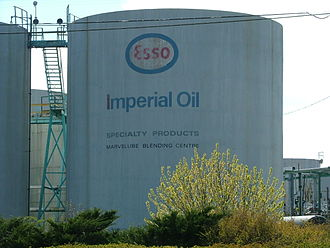 Environmental impact of the chemical industry in Sarnia - Esso holding tanks which are part of the Imperial Oil Refinery