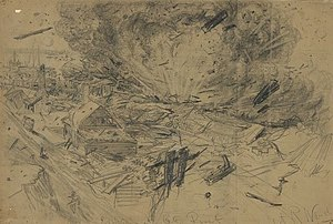 City Point, Virginia - Alfred R. Waud′s illustration of the explosion of the barge J. E. Kendrick at City Point on August 9, 1864, published in Harper's Weekly on August 27, 1864.