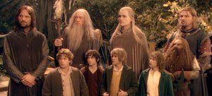 The Lord of the Rings: The Fellowship of the Ring - The eponymous Fellowship of the Ring, from left to right: (Top row) Aragorn, Gandalf, Legolas, Boromir, (bottom row) Sam, Frodo, Merry, Pippin, Gimli.