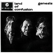 "Cover of the ""Land of Confusion"" single. The cover is inspired by the Beatles' album With the Beatles. The guitar riff accompanying the song owes a debt to The Who's Pete Townshend — subtly acknowledged in the line ""my generation will put it right""."