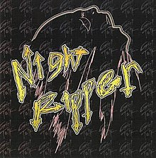 "An image featuring the words ""Night Ripper"" written in yellow lettering and the outline of a ghost. In the background, the words ""Girl Talk"" are repeated several times."