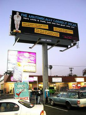 Guerrilla Girls - Guerrilla Girls billboard in Los Angeles protesting white male dominance at the Oscars in 2002.