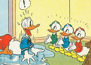 Huey, Dewey, and Louie - Final panel of 1937 Sunday newspaper strip Donald Duck that introduced Donald's nephews; drawn by Al Taliaferro