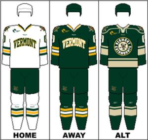 Vermont Catamounts men's ice hockey - Image: HE Uniform UVM