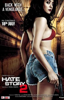 The poster features Surveen Chawla, in red bra and very-short skirt, walking away in a narrow-street, holding a pistol. The film title appears at bottom-left.