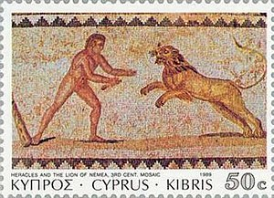 Leo (constellation) - Greek stamp depicting a mosaical image of the encounter between Hercules and Leo,the Nemean Lion.